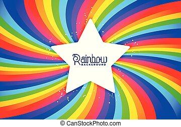 kolken, regenboog, ster, achtergrond, radiaal