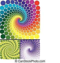 kolken, regenboog, variaties, kleur