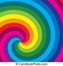 kolken, regenboog, vector., achtergrond.