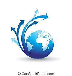 kolken, richtingwijzer, globe