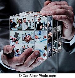 kollázs, üzletember, köb, ügy kezezés