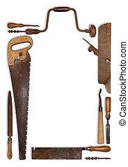 kollázs, alakítás, keret, munka, ács, erdő, eszközök