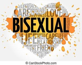 kollázs, biszexuális, szó, felhő