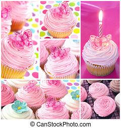kollázs, cupcake