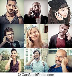kollázs, emberek, telefonon