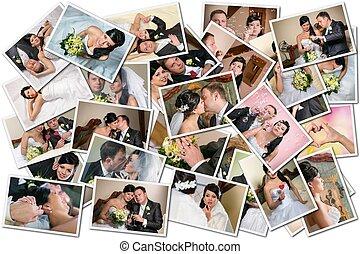 kollázs, esküvő