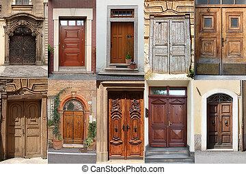 kollázs, fából való, ajtók