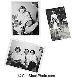 kollázs, fénykép, öreg