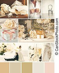 kollázs, fénykép, esküvő