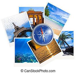 kollázs, fénykép, utazó, háttér, iránytű, fehér