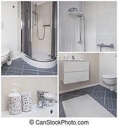 kollázs, fürdőszoba