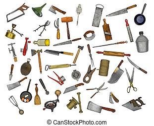 kollázs, felszerelés, konyha, szüret