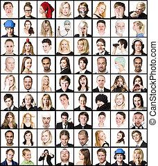 kollázs, közül, arcképek