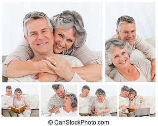 kollázs, közül, egy, öregedő összekapcsol, élvez, percek, otthon
