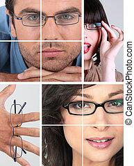 kollázs, közül, emberek, hord szemüveg