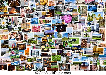 kollázs, közül, fénykép, közül, egy, személy, élet, alatt,...