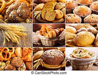 kollázs, közül, friss kenyér