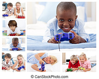 kollázs, közül, gyermekek játék, video játék