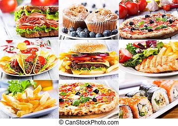 kollázs, közül, gyorsan elkészíthető étel, producrs