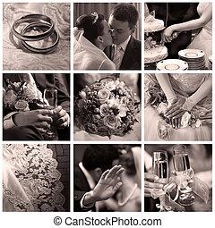kollázs, közül, kilenc, esküvő, fénykép