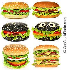 kollázs, közül, nagy, hamburgers