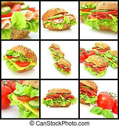 kollázs, közül, sok, különböző, friss, sandwichs
