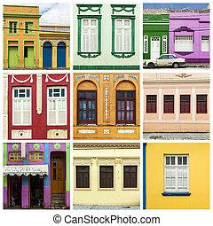 kollázs, közül, színes, épület