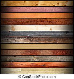 kollázs, különböző, fa kosztol, színes