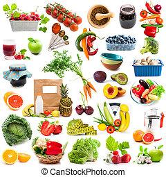 kollázs, növényi, fűszeráruk, gyümölcs