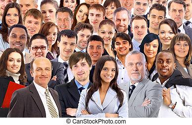kollázs, nagy, arc, csoport, emberek