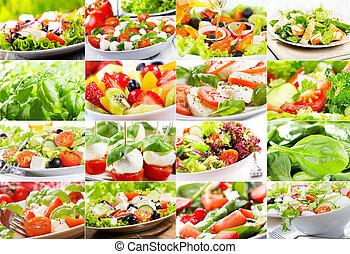 kollázs, noha, saláta