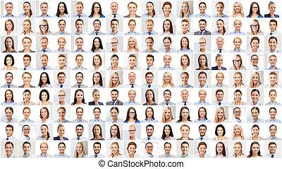 kollázs, noha, sok, ügy emberek, arcképek