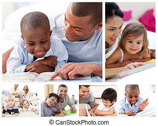 kollázs, oktató, szülők, gyerekek, otthon
