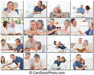 kollázs, párosít, öregedő, ölelgetés, bágyasztó