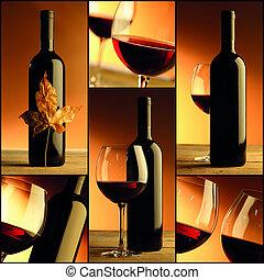 kollázs, pohár, bor, palack, zenemű, bor