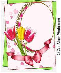 kollázs, portré, keret, tulipánok