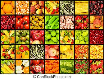 kollázs, sok, növényi, gyümölcs