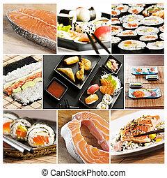 kollázs, sushi