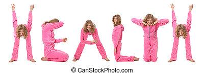 kollázs, szó, egészség, leány, gyártás, rózsaszínű, öltözék