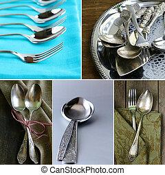 kollázs, szüret, ezüst, evőeszköz