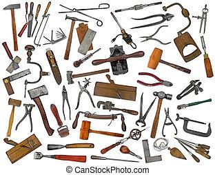 kollázs, szüret, fehér, eszközök, elegyít