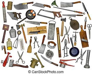 kollázs, szüret, felett, felszerelés, fehér, konyha