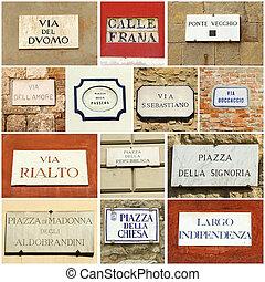 kollázs, utca, olasz