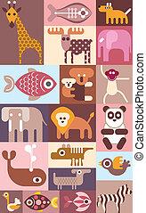 kollázs, vektor, állatok, állatkert