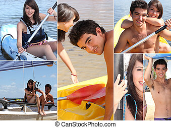 kollázs, watersports, themed