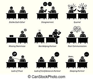 kollega, ledsagere, firma, arbejder, kontor., sammen, arbejdspladsen, inefficiently