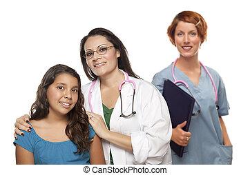 kollega, patient, doktor, latinamerikanskte, bag efter, kvindeligt barn