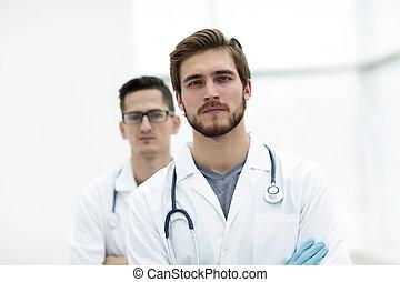 kollega, tillitsfull, closeup., bakgrund, läkare
