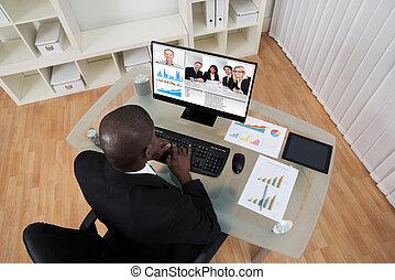 kollege, geschäftsmann, edv, video conferencing
