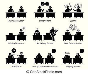 kollege, und, teilhaber, arbeitend zusammen, inefficiently, in, arbeitsplatz, büro.